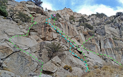 Rock Climbing Photo: 8 Dostie - Left side from W: B. Far Left Gully C...