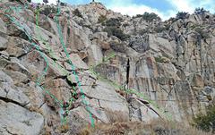 Rock Climbing Photo: 8 Dostie - Left Slab from W: C. Left Arete D. Ne...