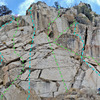 8 Dostie - Left Slab:<br> C. Left Arete<br> D. Near Left Gully (4 bolts)<br> E. Left Cracks<br> F. Central<br> H. Right Flake<br> J. Hand Traverse<br> purple X = 2-bolt anchor