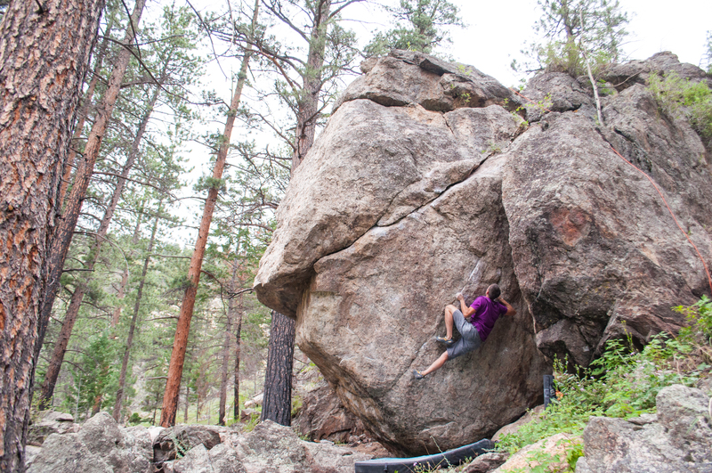 An open project on the backside of the bouldering wall.