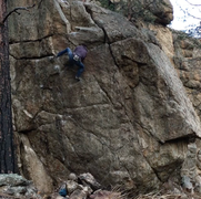 A poor quality picture, but this is the crux of the boulder.