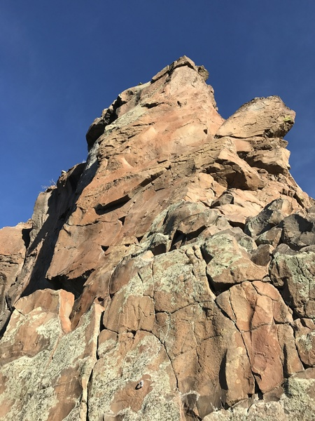 looking up from the belay