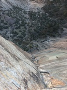 Rock Climbing Photo: Looking down from the top of the 11b roof pitch af...