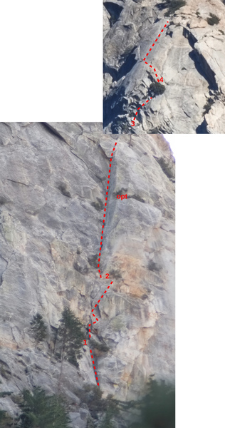 Photo with the route of Angel's Fright at Tahquitz Rock drawn on top.