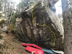 Sds down right. Work through pockets and slopy arete holds. Head left to left hand finger lock gastone. Big move to right hand slopy pocket and mantle. Burly!