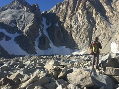 The view of the north couloir after the worst of the moraine field. 10-31-17
