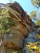 Awesome climbing on slight overhang. Great rock.
