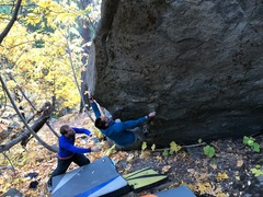 Rock Climbing Photo: Tol flashing the Moudra with a spot from ferrells