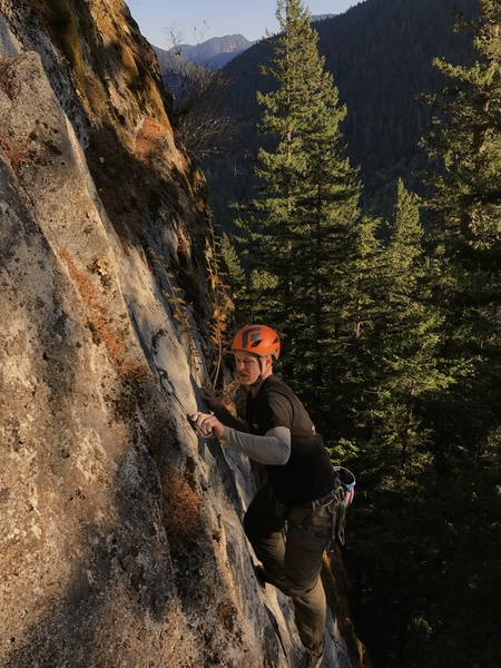 Andrew Davidson on the first ascent.