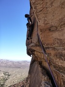 Keith sending the crux of Triassic Sands