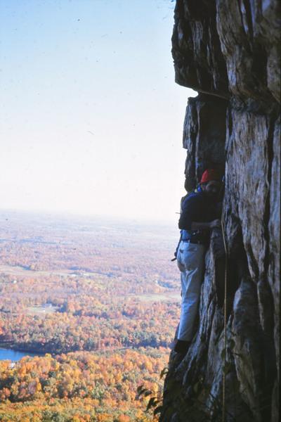 Double Crack. Doug Fosdick on belay ledge. Oct. 1974.