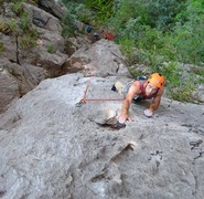 Josh on the first ascent.