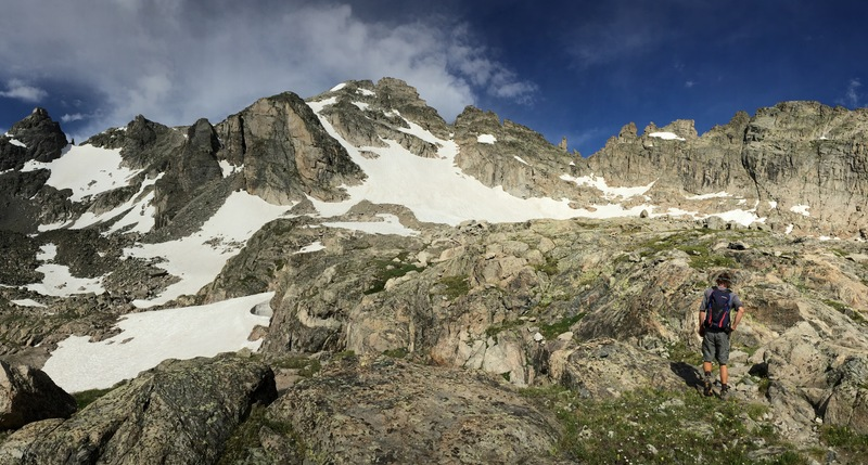 View of Kasparov Traverse on the right. Isabelle Glacier, Apache Peak, and Queen's Way Couloir center. Navajo Peak on the left.