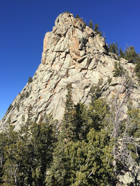 View of the southside of the second buttress with the ledge walkoff for the Unknown 5.10b crack route visible near the top.