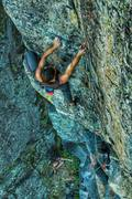 On the first ascent after many days scrubbing, bolting, and clearing loose rock. <br /> <br />Photo by Michael Sirianni.