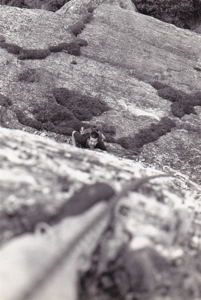 Hal Hammond below the headwall crack. 1997