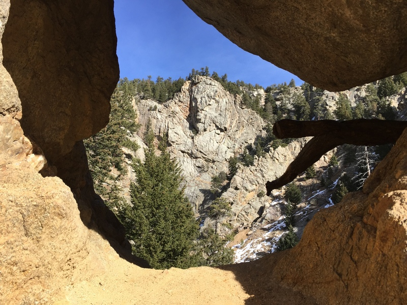The approach from Boulder Falls takes you through this hole before dropping down to the creek.