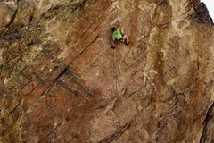 Kevin working out the crux beta