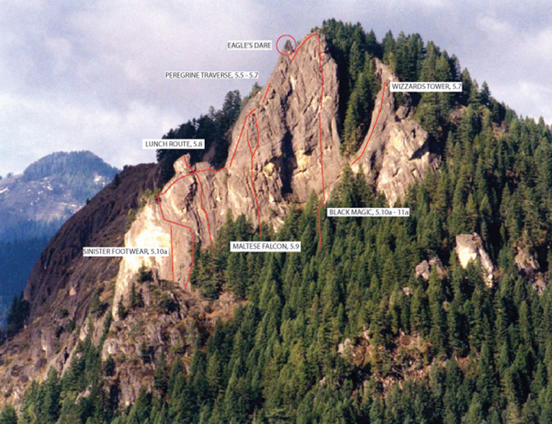 Select routes on SE face of Acker Rock.