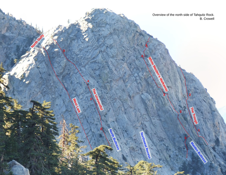 Overview of Tahquitz Rock from the northeast, with some routes and features labeled.