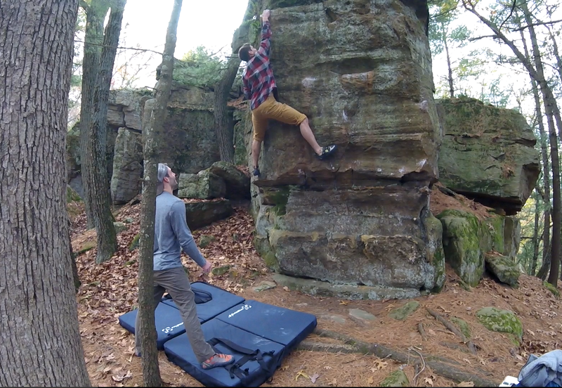 Right heel hook is key to get the upper ledge without needing a dyno. Really enjoyed this one!