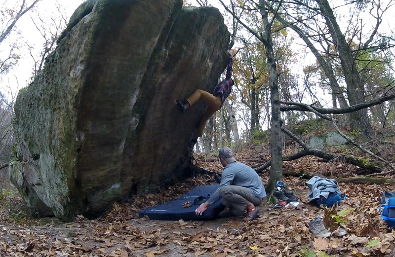 Left pinch on Breakaway. Rad boulder