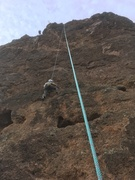"""To the right of """"Up and Away"""". The top of this route is inverted. If you can't make it all the way to the top just climb up the backside."""
