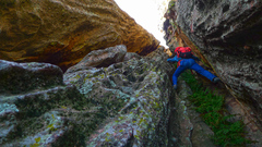 Rock Climbing Photo: Starting up the deep chimney on the east face of J...