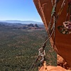 View from the belay station atop P2.