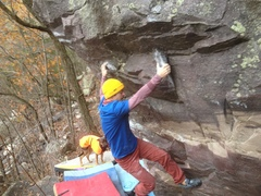 Rock Climbing Photo: K Baker finishing up the probable fa of Pivot Poin...