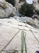 Rock Climbing Photo: View from the bolted rap anchor. Me coming up Easy...