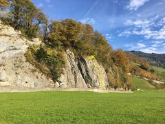 The right side of the crag