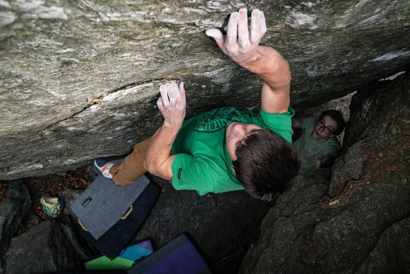 This is the most committing move of the climb for me because I wasn't able to get my left hand on the best part of the hold from the lock off.