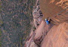 Rock Climbing Photo: The amazing finger crack on the crux pitch.