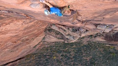 Rock Climbing Photo: Great exposure on the final, sandy pitch
