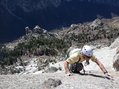 Rock Climbing Photo: Rick Wyatt leading the last pitch