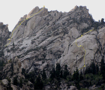 Rock Climbing Photo: Reptile Ridge is on the left skyline. Path of the ...
