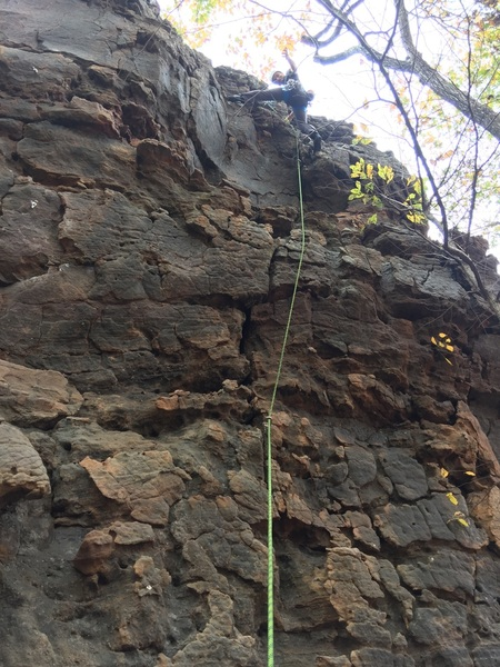 2nd Trad Route for me!  Very cool moment, climbing a route that my brother did FA!  Only used 2 nuts and cruised over the 2 bulges.
