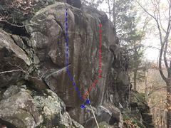 Rock Climbing Photo: Facing the wall. At least two possible lines.