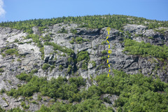 Right side of the main slab with approximate topo of route.