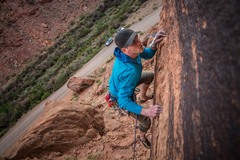 The exposure right after the crux is pretty great (for a sport route) <br /> <br />Photo by Cody Onthank @46.north
