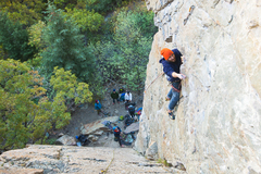Finishing the crux clip on Chambered Nautilus.