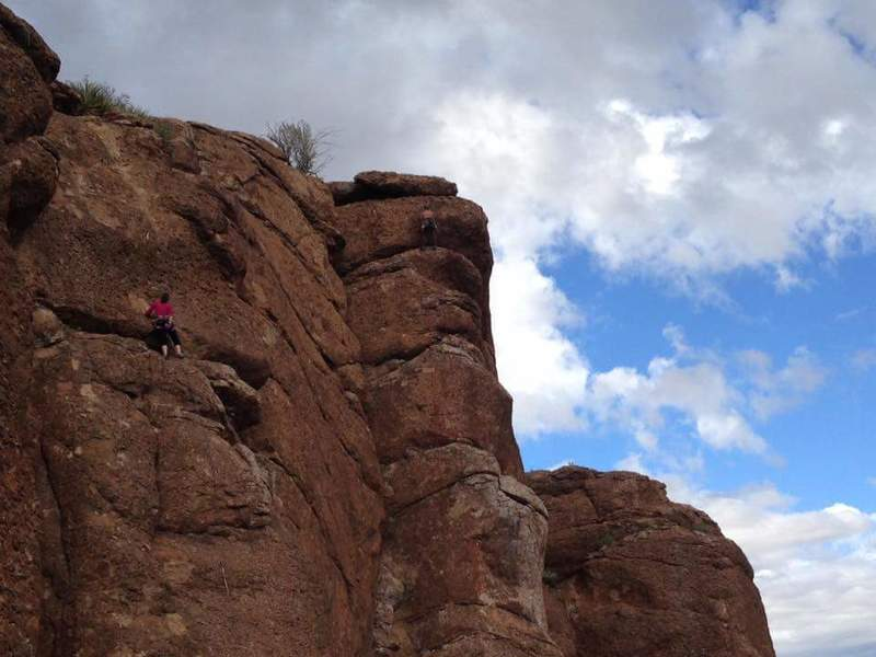 Jennifer Fioretti leading her first 5.8 at the Upper Pond.