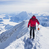 summit ridge of denali, after touching the top on a perfect morning.