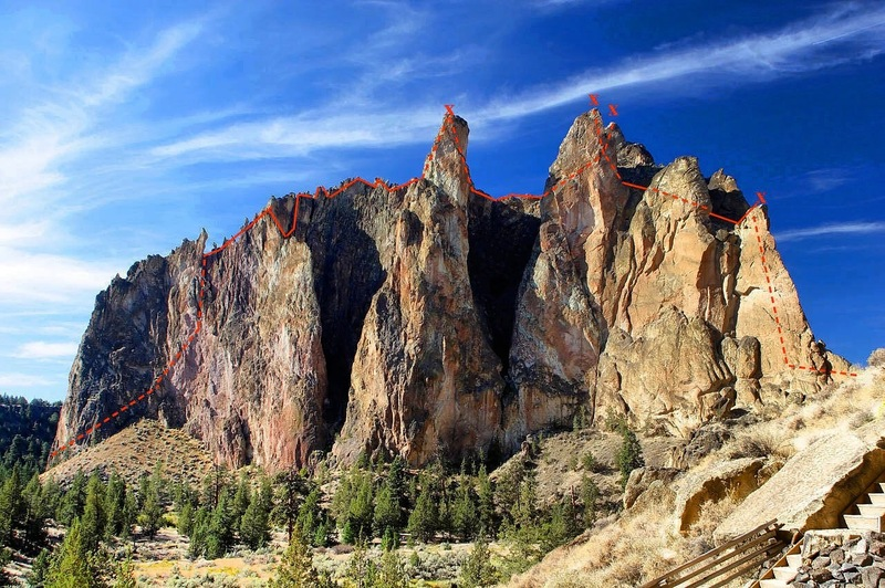 Full approximate outline of the route. Image edited from general Smith Rock Group photo.