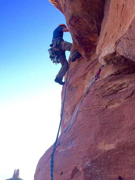 Crux territory, Pitch 2. (Photo by Steve Dobbs)