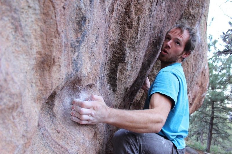 Tenuous moves on the low traverse.