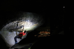 Rock Climbing Photo: Night sessions at the black. Ryan setting it up on...