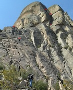 Looking up from the base of the route.