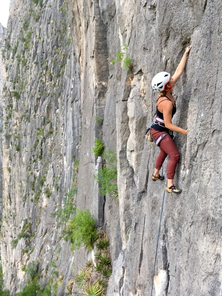 Taryn on the first ascent. 